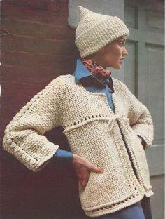 Beautiful Knit Sweater PATTERN Box Jacket & Cap
