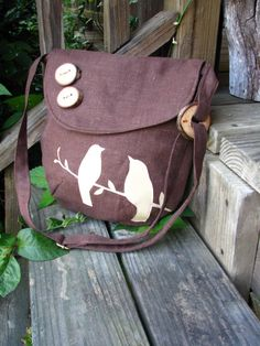 Mini Tweeting Birds Shoulder bag Purse Natural Linen by LBArtworks, $59.00
