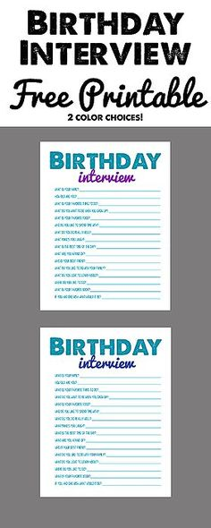 Birthday Interview Free Printable! | Best Activities for Kids