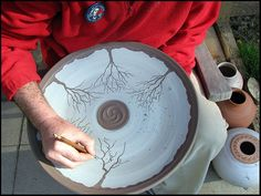 Working outside on large tree platter   I still can't escape the trees. I decided to use my latest design for the Uwharrie Mountain Run  on...