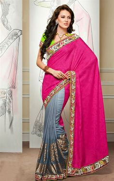 Picture of Impressive Grey and Pink Designer Party Wear Saree Online