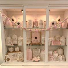 Valentine Theme, Valentines Day, Pink Kitchen Appliances, Hutch Display, New Crafts, Tray Decor, Tea Set, Seasonal Decor, St Patricks Day