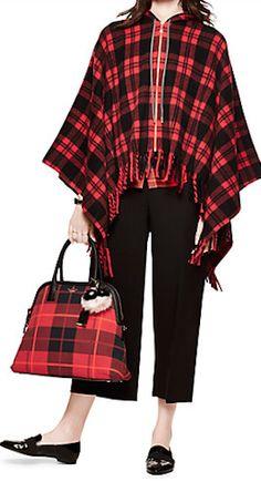 red plaid checkered poncho
