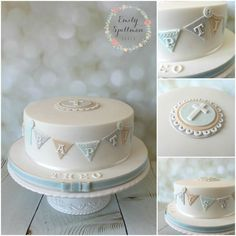 Christening/Baptism Baby Boy Cake with Cross and cute bunting, buttons and lace: