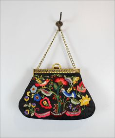 1960s embroidered purse w/ birds & flowers / by OmniaVTG on Etsy, $65.00