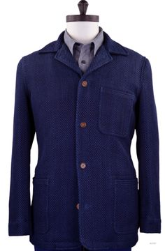 Luxire Indigo Heavy Sashiko Jacket: http://custom.luxire.com/products/indigo-heavy-sashiko-jacket  Consists of 5 button closure with 1 chest patch pocket, 2 hip patch pockets and 1 button cuffs.