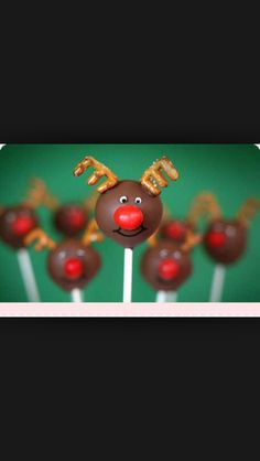 Reindeer cake pops made with pretzels and red-hots