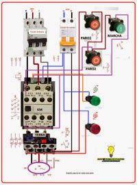 Esquemas eléctricos: Marcha motor trifasico 2paros