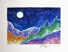 Full Moon Mountain Watercolor Painting by SusanFayePetProjects, $100.00