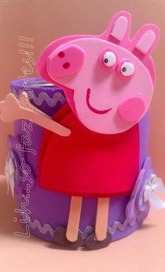 Latinhas recicladas e decoradas com e.v.a Peppa Pig
