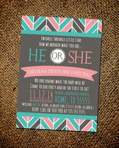 Gender Reveal Party Invitation on Etsy, $15.00