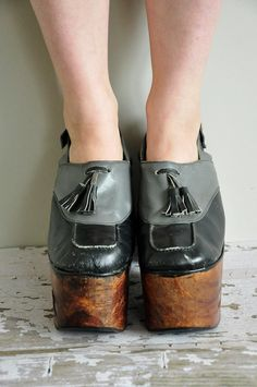 vintage 1970s wood platforms / rare 70s size by simplicityisbliss, $425.00