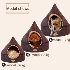 Pet Dog Cat Tent House Dirt-resistant Soft Yurt Bed with Double Sided Washable Cushion