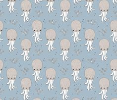 Adorable jelly fish squid baby sea animals ocean dream blue - surface design by Little Smilemakers on Spoonflower - custom fabric and wallpaper inspiration for kids clothes fun fashion and trendy home decorations.