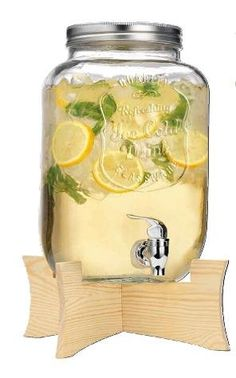 Quality Ice Cold Durable Glass 2.15-gallon Mason Jar Beverage Dispenser with Spigot and Collapsable Wood Stand