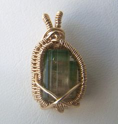 Watermelon Tourmaline Crystal  Gold fill wire wrap necklace pendant
