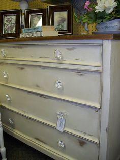 white distressed dresser/desk