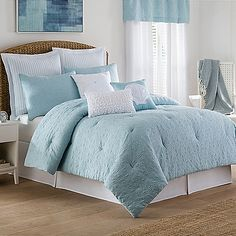 Escape to your favorite beach resort with the Coastal Life Luxe Sonoma Comforter Set. In a beautiful sky blue with intricate white all-over floral scroll embroidery, the set is complete with coordinating pillow sham and bed skirt.