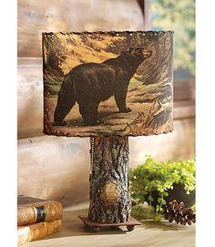Bark Lamp with Bear & Moose Shade