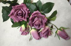 Real Touch Roses Lilac Grayish Purple Open Roses, 3 Heads/Stem, Silk Lavender Roses For Wedding Flowers Bouquets