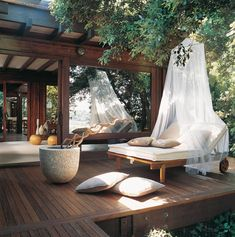 Beautiful Summer Decorating with Mosquito Nets Improving Pergola and Gazebo Designs How relaxing does this deck look? This would be the perfect place to relax after a spa treatment. Outdoor Rooms, Outdoor Living, Outdoor Decor, Indoor Outdoor, Outdoor Mirror, Outdoor Patios, Outdoor Sheds, Outdoor Kitchens, Outdoor Lounge
