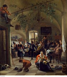 Merrymaking in a Tavern - Jan Steen. Oil on canvas. The Wallace Collection, London, UK. Dutch Golden Age, Dutch Painters, Dutch Artists, Old Paintings, Art Uk, Fine Art, Renaissance Art, 17th Century, Cool Artwork
