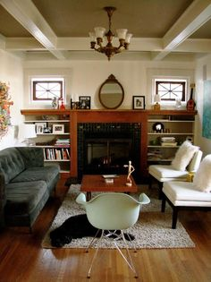 The Fleet Family's Modern Craftsman Mix    House Tour -- another mirror above the fireplace I like.