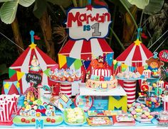 Marwan's first birthday Circus / carnival fisher price themed first birthday