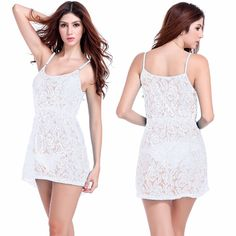 1b46620e9bf Sleeveless 2017 Summer Women Lace Patchwork Vestido Loose Beach Mini Dress  Sexy Strapless White Cover Up Swimwear