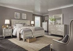 Light colored dressers & nightstands but paired with nailhead bed #KingSizeBedroomSets