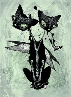 A strange art of a winged, two-headed cat that could very well have been designed by Tim Burton!