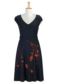 I <3 this Floral spray embroidered dress from eShakti