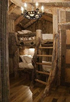 This is so awesome.If i were building my dream home{log cabin],i would have these built for Tatum's bedroom.