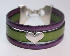 Green and Purple Cuff Leather bracelet with by OllieBooJewelry,  #crafyab #ollieboojewelry #YEG