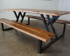 ***CURRENT ESTIMATED LEAD TIMES ON ALL ORDERS IS 8-12 WEEKS*** This table top is constructed with all reclaimed wood salvaged from barns and buildings from all across the United States. With all reclaimed pieces no table will ever look the same and all wood will be from different places and vary in color. There will be character marks - including old nail holes, cracks and knots here and there. These can be filled upon request. These tables are completely functional and have a smooth top all…