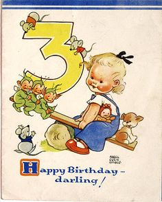 Happy 3rd Birthday! ~ Vintage Mabel Lucie Atwell card