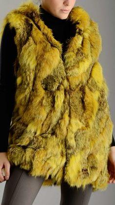 Yellow fox fur hooded waistcoat