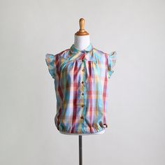 Vintage Plaid Blouse  Rainbow Color Ruffle Sleeve Bright by zwzzy, $32.00