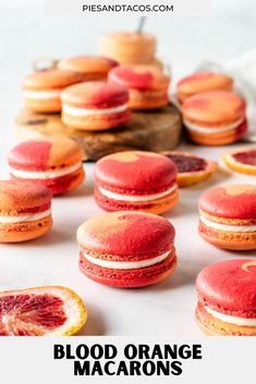 Blood Orange Macarons #macarons #bloodorange #orange #curd #frenchmacarons #cookies #glutenfree Cream Cheese Eggs, Cream Cheese Frosting, Delicious Cookie Recipes, Yummy Cookies, Macarons, Macaron Recipe, Summer Food, Blood Orange, Summer Recipes