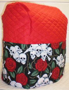 Red Quilted Skulls & Roses Cover for Sunbeam Heritage Series 4.6qt Mixmaster Stand Mixer w/6 Pockets