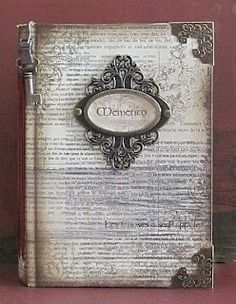 I could possibly do this with clear plastic cover and metallic corner clips, a center frame and metal key, over an antiqued page of text double printed, for a guestbook. Journal Covers, Book Journal, Art Journals, Handmade Journals, Handmade Books, Handmade Notebook, Mini Albums, Altered Book Art, Ideias Diy