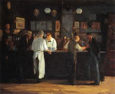 """Repin from Kory Name: John French Sloan  Date: 1912 Ashcan School Features: The Ashcan School style is known for its dark palette, gestural brushstrokes and its modern glimpse of life. Most of the subject matter depicted those is working class rather than elitists. They painted """"truthfully"""" to the scene. Relation: The painting follows the similar """"sketchy"""" type painting that is popular in this style fo art. The usage of dark colours also relates the main features"""