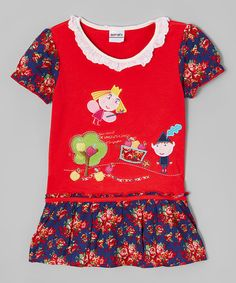Another great find on #zulily! Red & Blue Floral Drop-Waist Dress - Infant, Toddler & Girls #zulilyfinds