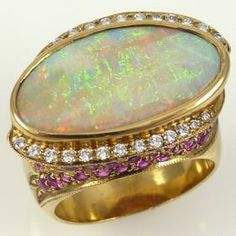 Opal, Sapphire, and Diamond Ring by Larry Vasquez - Garland's Indian Jewelry