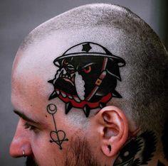 By @pretty_electric #tattoo #tattoos #tattooing #tattooed #tattooer #tattooart #tattooartist #tattooist #inked #ink #oldschool #traditional #traditionaltattoo #bulldogtattoo #bulldog #headtattoo
