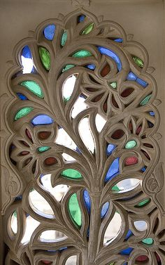 Stained glass window, City Palace, Udaipur, India