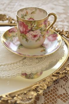 Beautiful Hand Painted Teacup & Saucer