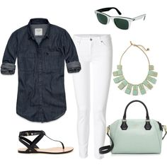 Dark Denim Shirt, Kate Spade Bag by jnmullings on Polyvore