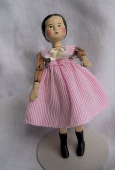 """Mini Hitty Doll by Gail Wilson Signed 3 25"""" Carved Wood Pin Joints 2006 