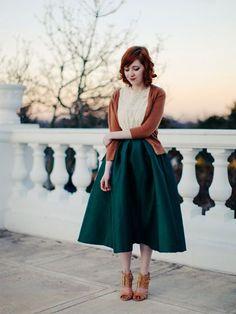 Green Midi Skater Skirt   Choies